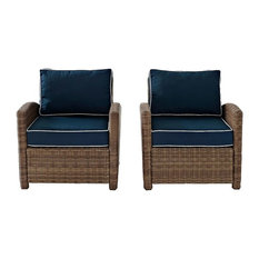 Bradenton Outdoor Wicker Seating With Cushions, Navy, Set of 2