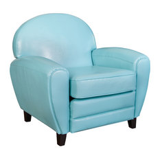 GDFStudio   Hayley Blue Leather Cigar Club Chair   Armchairs And Accent  Chairs