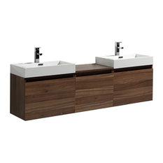 "Aquamoon Venice 68"" Square Double Sink Modern Bathroom Vanity Set, Walnut"
