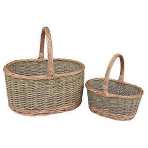 Country Oval Wicker Shopping Baskets, Set of 2