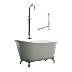 "54"" Swedish Bathtub & Complete Modern Freestanding Plumbing Package- Chrome"