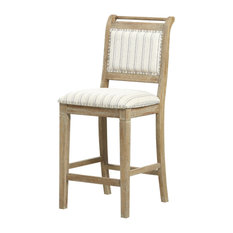 Linon Solid Wood Bar Stool With Gray Wash Finish