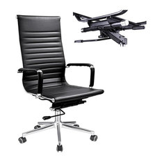 YesHom - Executive High Back Ribbed PU Leather Swivel Desk Chair, Black, Chair - Office Chairs