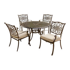 """Traditions 5 Pc. Dining Set of 4 Aluminum Cast Chairs, 48"""" Round Table"""