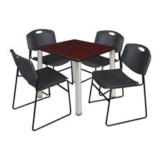 Kee 30-inch Square Breakroom Table Mahogany/ Chrome And 4 Zeng Stack Chairs Black