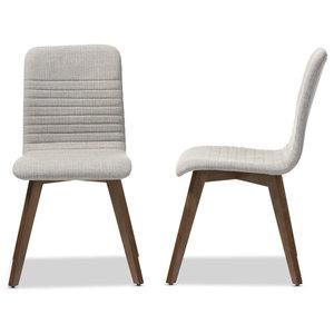 Fabric Upholstered Walnut Wood Finishing Dining Chair, Light Gray, Set Of 2