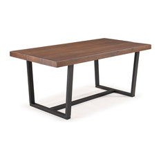 """72"""" Rustic Farmhouse Distressed Solid Wood Dining Table, Mahogany"""