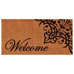 Home & More - Scroll Welcome Doormat 3'x6' - Extra-large for a grand, dramatic look, this stunning doormat is made of natural coir, a durable, dense fiber that scrapes shoes clean. Vinyl backed for increased durability and to help prevent movement, this mat is weather tolerant, absorbs moisture and will not mat down regardless of the traffic. Vacuum, sweep or lightly hose clean.