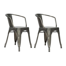 Metal Dining Chairs Industrial industrial dining room chairs | houzz
