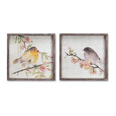 "Bird/Framed Plaque 16.5"" Wood, Set of 2"