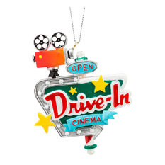 "JWM - Drive In Cinema Retro Look Christmas Holiday Ornament 3.75"" - Christmas Ornaments"