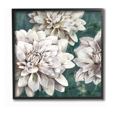 "Flower Blooms Green White Painting, 12""x12"", Black Frame"