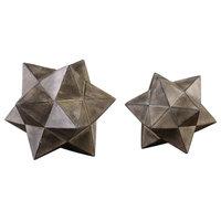 Geometric Stars Concrete Sculpture, 2-Piece Set