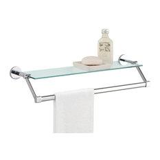 Glass Shelf With Chrome Towel Bar