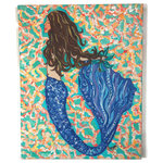 "My Island - Brunette Mermaid Canvas Art, 16""x20"" - Brunette Mermaid Giclee is gallery wrapped canvas art. It is mounted on a 1"" Frame and is in Shades Of Aqua, Coral, Blue, YellowAnd More. Reproduction Of Original By My Island Artist, Gerri Hyman. ."