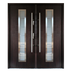 Ville Doors Stainless Steel Modern Entry Double Door Wenge Finish Left Hand Inswing