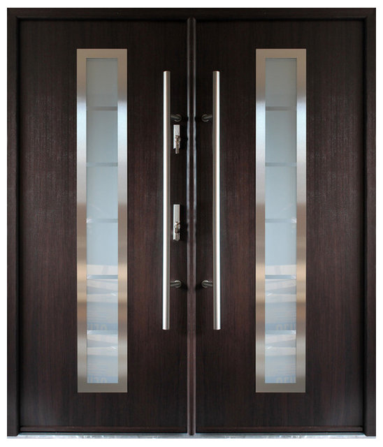 Stainless Steel Modern Entry Double Door Wenge Finish