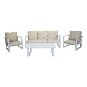Outdoor 4-Piece Bolonia Furniture Set With 3-Seater Sofa, White