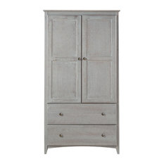 Camaflexi   Shaker Style Wardrobe 2 Doors/2 Drawers, Weathered Gray    Armoires And