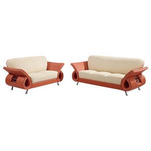 U559 Beige Orange Top Grain Leather Three Piece Sofa Set