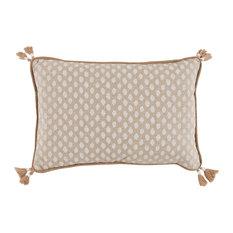 Sahara Lumbar Pillow With Tassels, Chalk