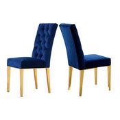 Capri Velvet Dining Chair, Set of 2, Navy
