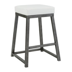 Haley Counter Height Backless Barstool, Aspen Pure White/Silver Bisque, 26""