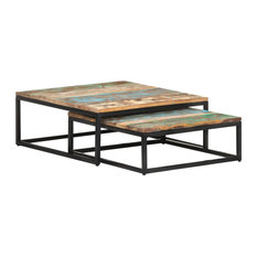 vidaXL 2x Nesting Coffee Table Solid Reclaimed Wood Side End Accent Couch
