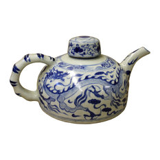 Chinese Blue White Porcelain Scenery Accent Teapot Display cs2525