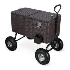 80 Qt Outdoor Party Cooler Wagon Ice Chest, Rattan
