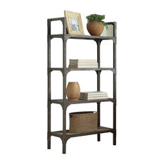 ACME Gorden 4 Shelf Bookcase in Weathered Oak and Antique Silver