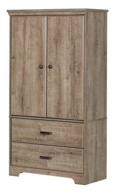 South Shore Versa 2 Door Armoire With Drawers, Weathered Oak