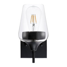 Modern 1-Light Glass Armed Wall Sconce, Clear Glass