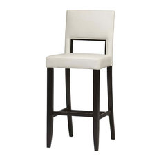 Wooden Bar Stool With Padded Seat And Backrest Brown And White