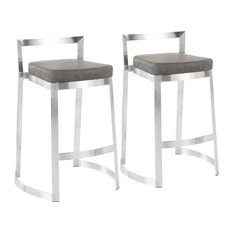 Fuji DLX Contemporary Counter Stool, Marbled Grey Faux Leather Cushion, Set of 2