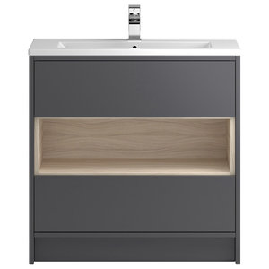 Octavia Freestanding Vanity Unit and Sink, Gloss Grey and Driftwood, 80 Cm