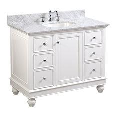 "Bella Bath Vanity, Base: White, 42"", Top: Carrara Marble"