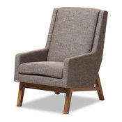 Aberdeen Walnut Wood Finishing and Gravel Fabric Upholstered Lounge Chair