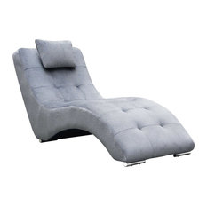 zuri furniture stealth fabric and polished steel chaise lounge light gray indoor chaise chaise lounge sofa modern