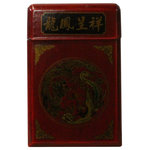 Golden Lotus - Chinese Handmade Vinyl Cover Mirror Paper NotePad Decor Hcs4335r1 - This is a handmade Chinese accent decorative notepad with mirror lid. The surface is a red color vinyl with oriental scenery graphic.
