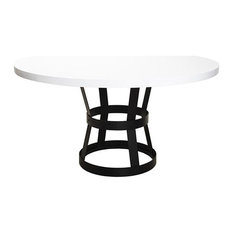 Worlds Away Dining Table Base In Black With White Lacquer Top