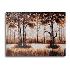 """Hand Painted """"Trees in sombre wood"""" Oil Painting"""
