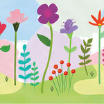 WallPops - Happy Poppy Peel & Stick Mural - Delightful poppies, carnations and forest plants pop against a light yellow, pink and peach background in this peel and stick mural. Their bright orange, pink, red, and purple hues add to its cheerful look. Happy Poppy Peel & Stick Mural contains 6 pieces on 6 sheets that measure 94 x 19.7 inches. Floral peel and stick wall mural; Measures 9-ft 10-in by 7-ft 10-in when assembled; Comes in 6 sheets; Peel and stick to apply, pull up to remove; Safe for walls, leaves no sticky residue behind; Sticks to any smooth, flat surface.