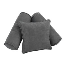 Solid Microsuede Throw Pillows with Inserts, Set of 3, Steel Grey