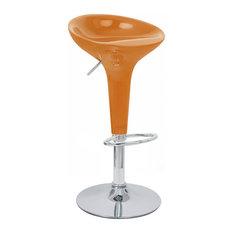 Set Of 4 Alpha Contemporary Bombo Style Adjustable Barstool (Orange Twist)