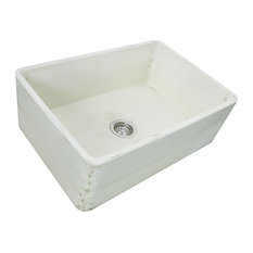 Nantucket Sinks Farmhouse Fireclay Sink, Shabby Straw Finish, 30""