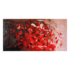 """Red Coral 48x24"""" Original Large Modern Painting on stretched canvas"""