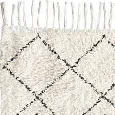 Brikk - Moroccan Shag Rug, Cream and Black, 5'x8' - Area Rugs
