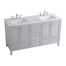 Elegant Decor Sommerville 60-inch Double Quartz Top Bathroom Vanity In Gray