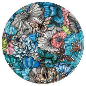Flower Power Blue Tray, 46 cm